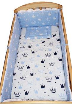 Lenjerie cu baldachin, 6 piese, coronite Prince albastru, 120 x 60 cm