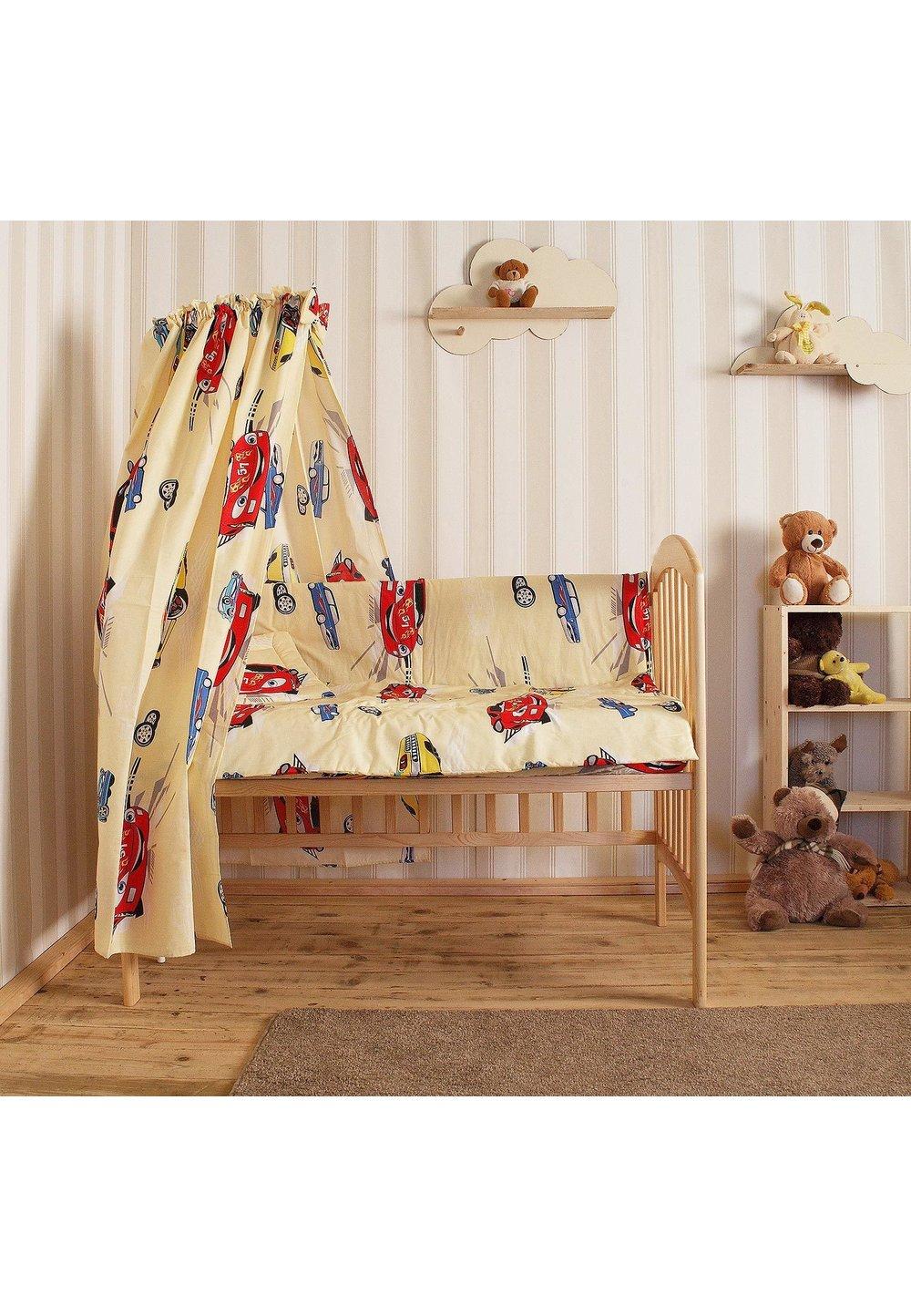 Lenjerie cu baldachin, 6 piese, masinute mari, galbene, 120x60 cm imagine