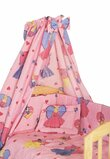 Lenjerie cu baldachin, 6 piese, Printese roz 120x60 cm