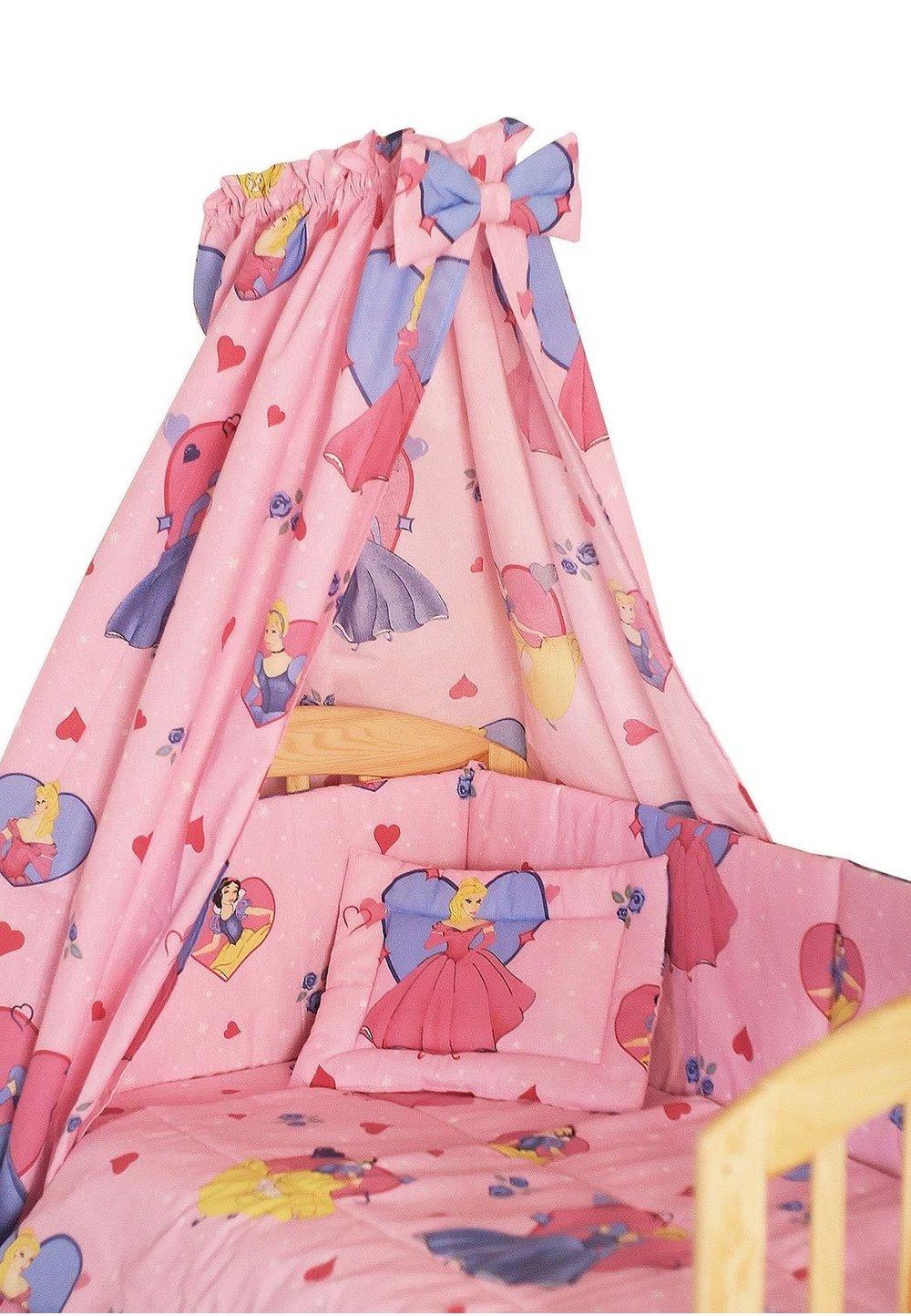 Lenjerie cu baldachin, 6 piese, Printese roz 120x60 cm imagine