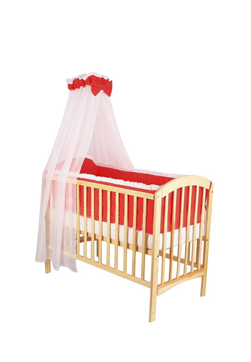 Lenjerie cu baldachin, 6 piese, rosu cu buline albe, 120x60 cm imagine