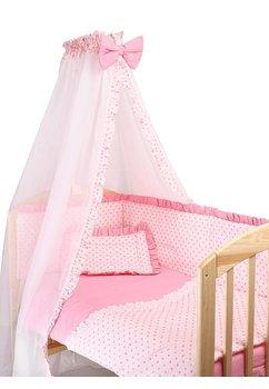 Lenjerie cu baldachin, 6 piese, roz cu stelute roz, 140x70 cm
