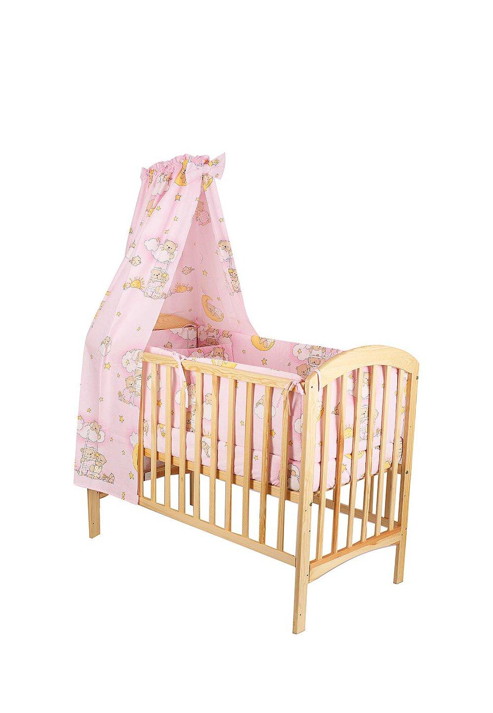Lenjerie cu baldachin, 6 piese, ursuletul somnoros, roz 120x60 cm