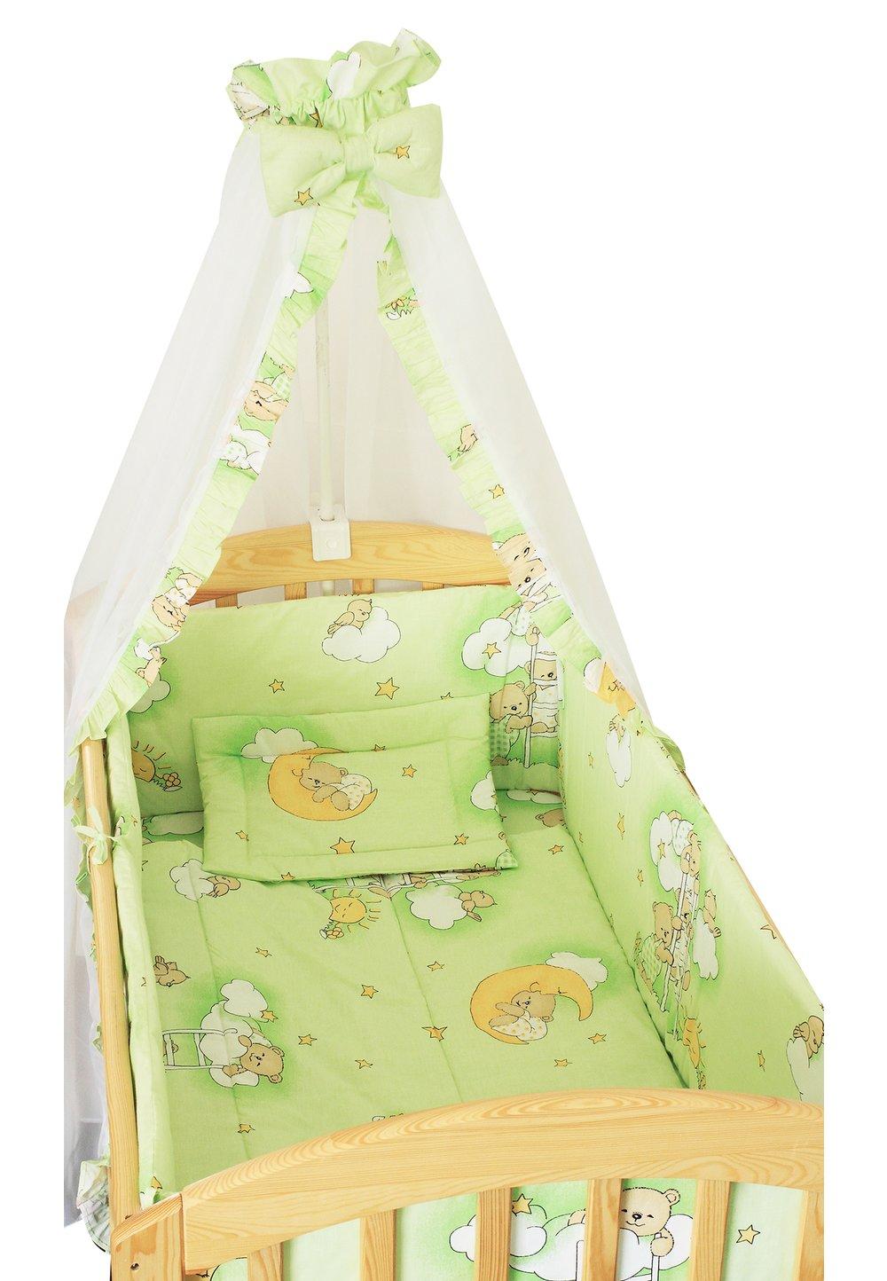 Lenjerie cu baldachin, 6 piese, ursuletul somnoros verde, 120 x 60 cm imagine