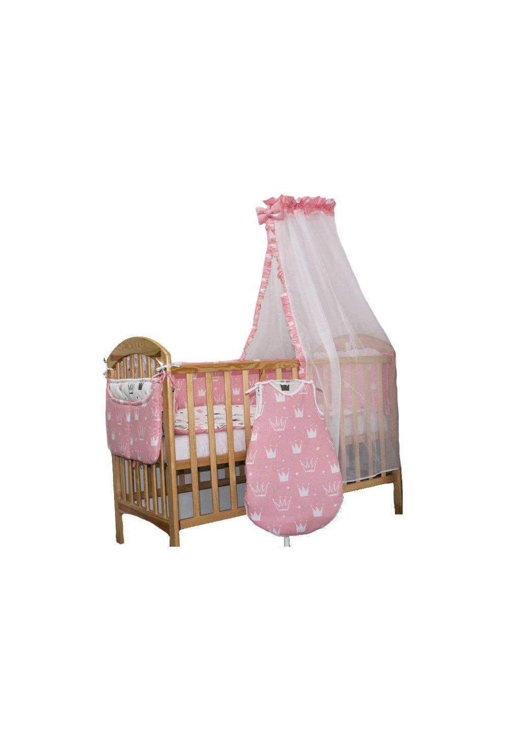 Lenjerie cu baldachin, 8 piese, Princess roz, 120 x 60 cm imagine