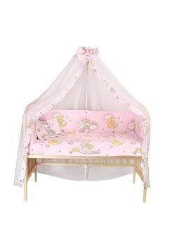 Lenjerie cu baldachin, 6 piese. ursuletul somnoros roz, 120x60cm