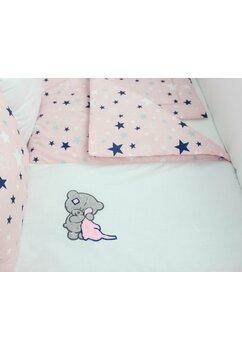 Lenjerie cu perne, 9 piese, ursulet cu biberon, roz, 120 x 60 cm