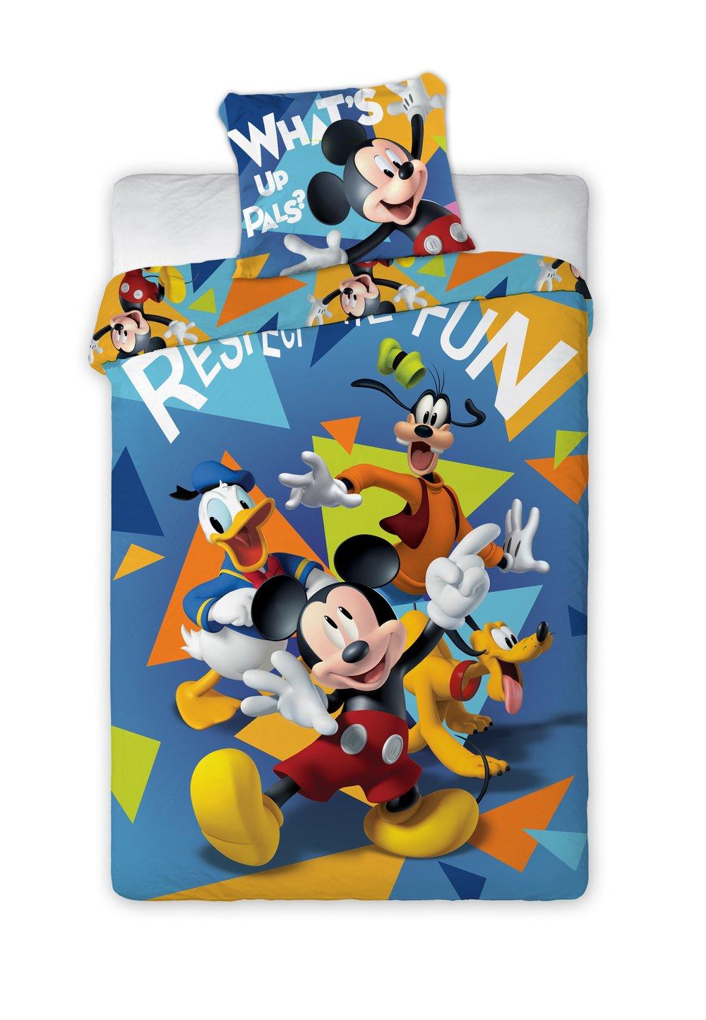 Lenjerie de pat, albastra, Mickey si prietenii, 140 x 200 cm imagine