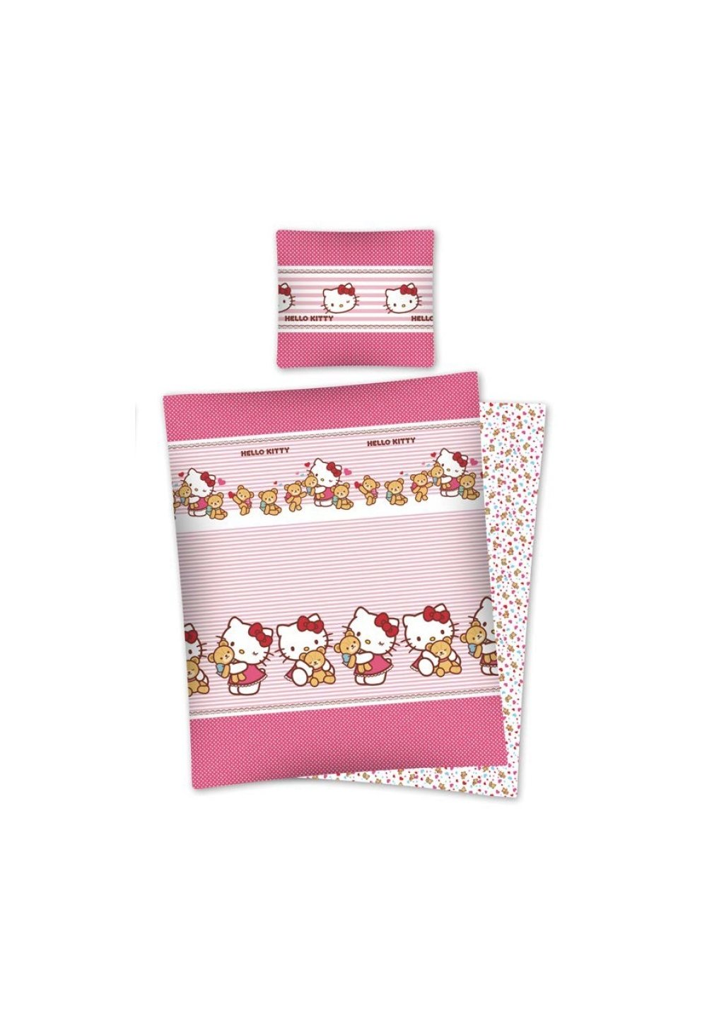 Lenjerie de pat, Hello Kitty, roz cu dungi, 140x200cm