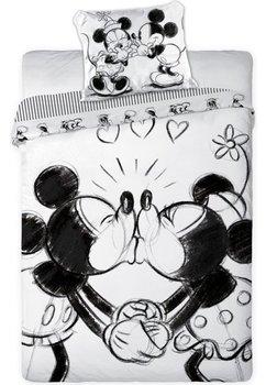 Lenjerie de pat, Minnie si Mickey, alb si negru, 160 x 200 cm