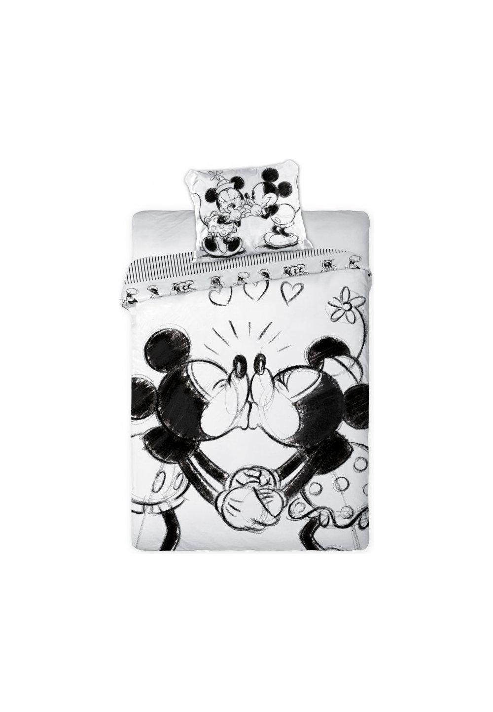 Lenjerie de pat, Minnie si Mickey, alb si negru, 160 x 200 cm imagine