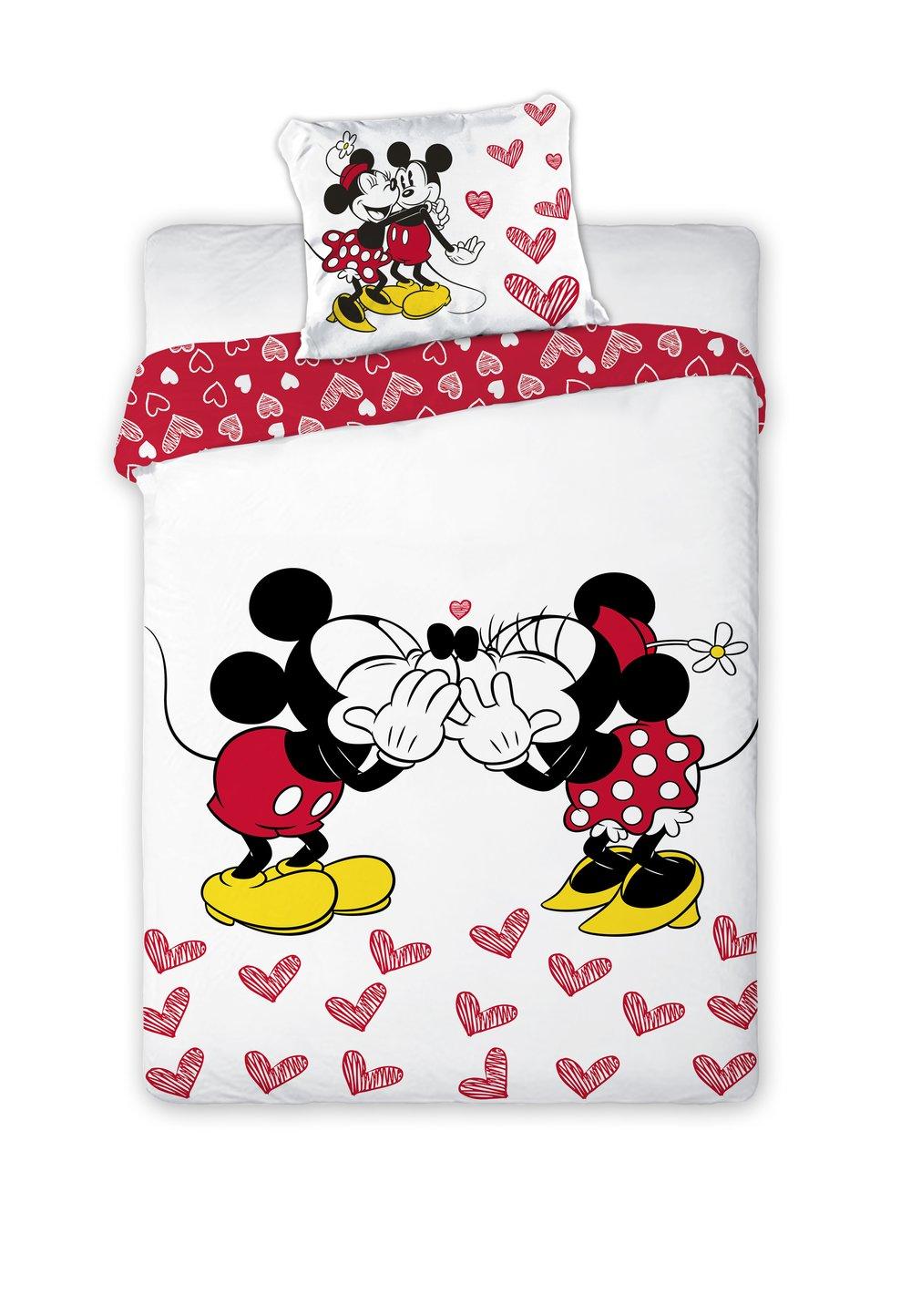 Lenjerie de pat, Minnie si Mickey, inimioare rosii, 160 x 200 cm imagine