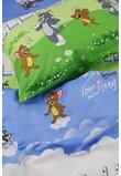 Lenjerie pat 3 piese Tom si Jerry,160 x 200 cm