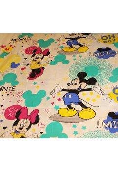 Lenjerie de pat 3 piese, Minnie si Mickey, crem, 160 x 200 cm