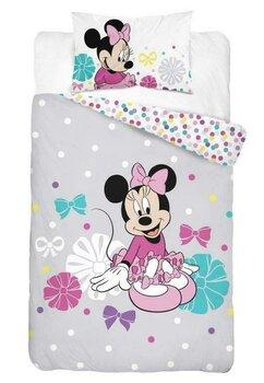 Lenjerie pat, Minnie Mouse, gri cu buline, 100x135 cm