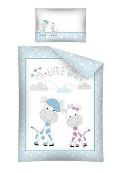 Lenjerie pat, My little baby, albastra cu stelute, 100x135 cm
