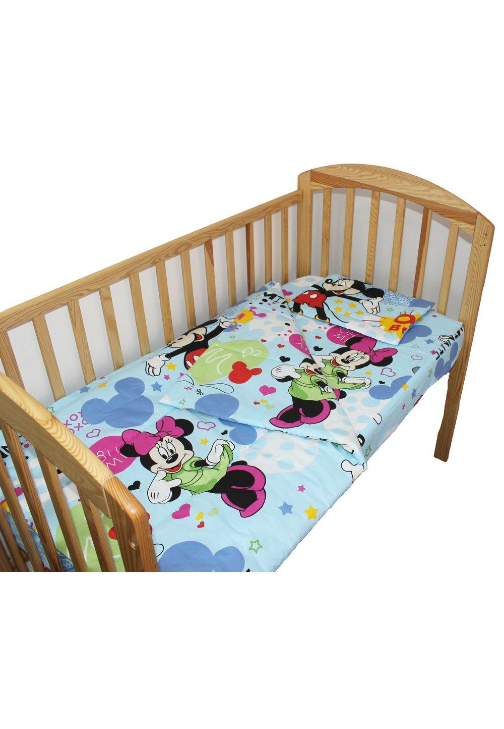 Lenjerie patut, 3 piese, Minnie si Mickey, albastru, 120 x 60 cm imagine