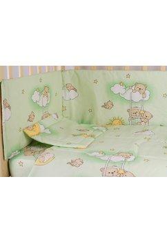 Lenjerie patut 3 piese, ursuletul somnoros, verde, 120 x 60 cm