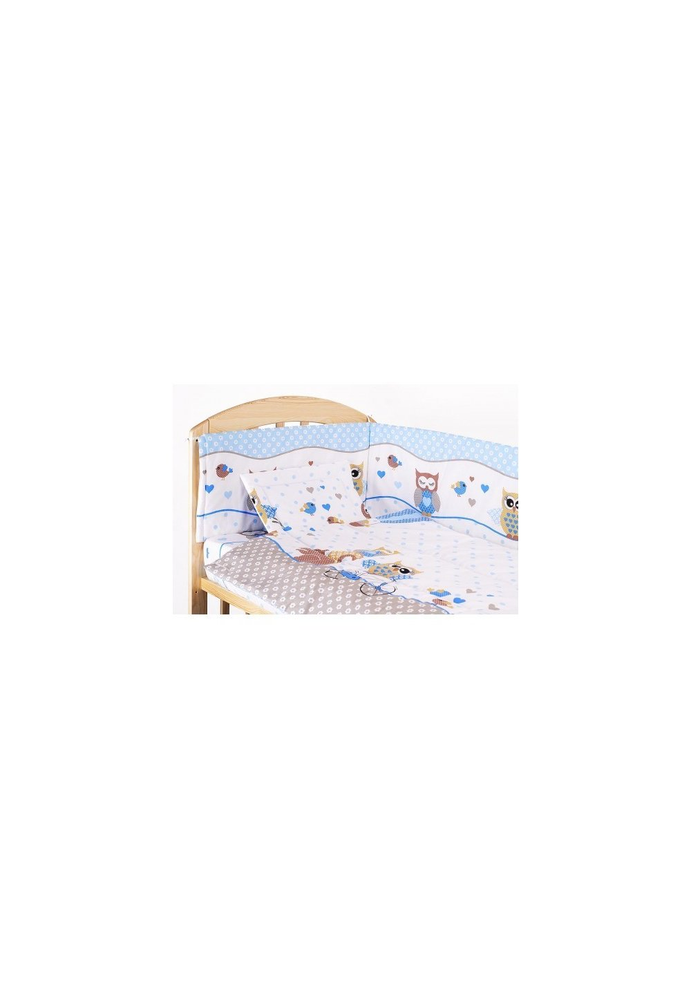 Lenjerie patut, 5 piese, Bufinite albastre, 140x70 cm imagine