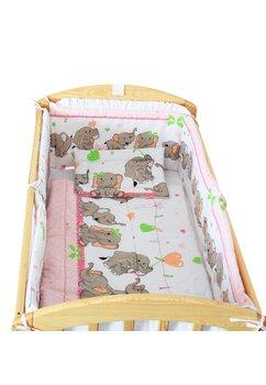 Lenjerie patut, 5 piese,  Elefant roz sir, 120 x 60 cm