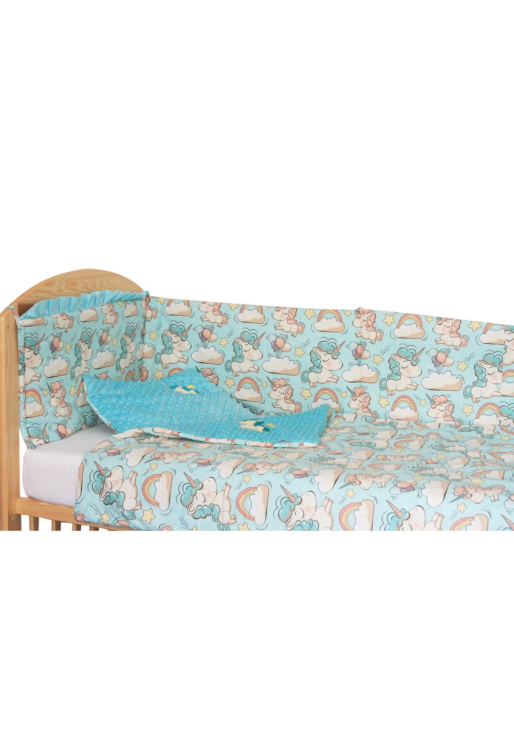 Lenjerie patut, 5 piese, Unicorn turcoaz, 120 x 60 cm imagine
