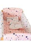 Lenjerie patut 7 piese, Maxi, 2 fete, stelutele roz, 120 x 60 cm