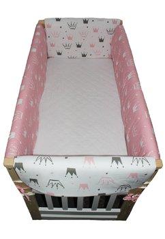 Lenjerie patut 7 piese, Maxi, doua fete, coronite roz,120x60cm