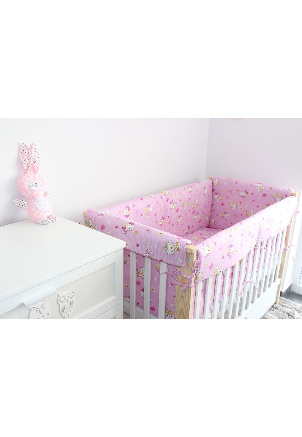 Lenjerie patut 7 piese, Maxi, Hello Kitty, roz deschis, 120x60cm imagine
