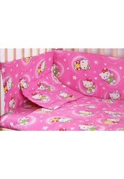 Lenjerie patut bumbac, Hello Kitty, roz, 5 piese 140x70cm