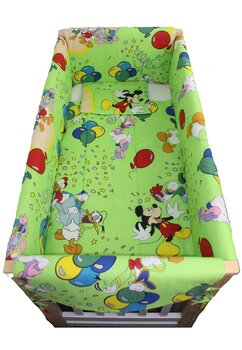 Lenjerie patut, Mickey petrece verde, 7piese, 120x60cm