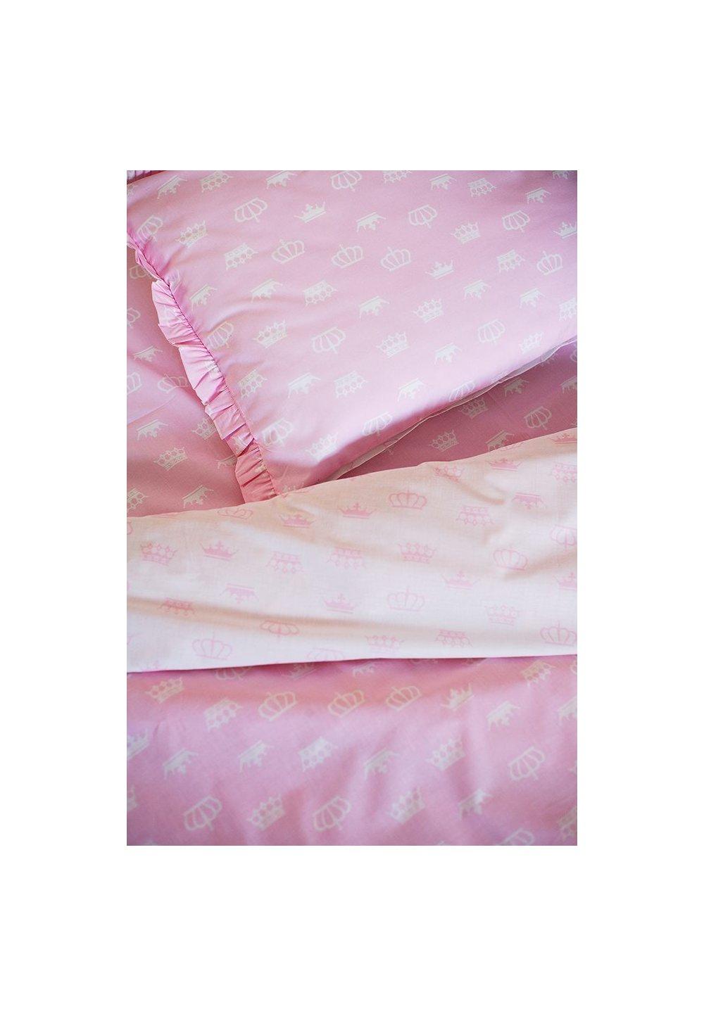 Lenjerie Princess 2 fete, alb cu roz, 160x200cm imagine