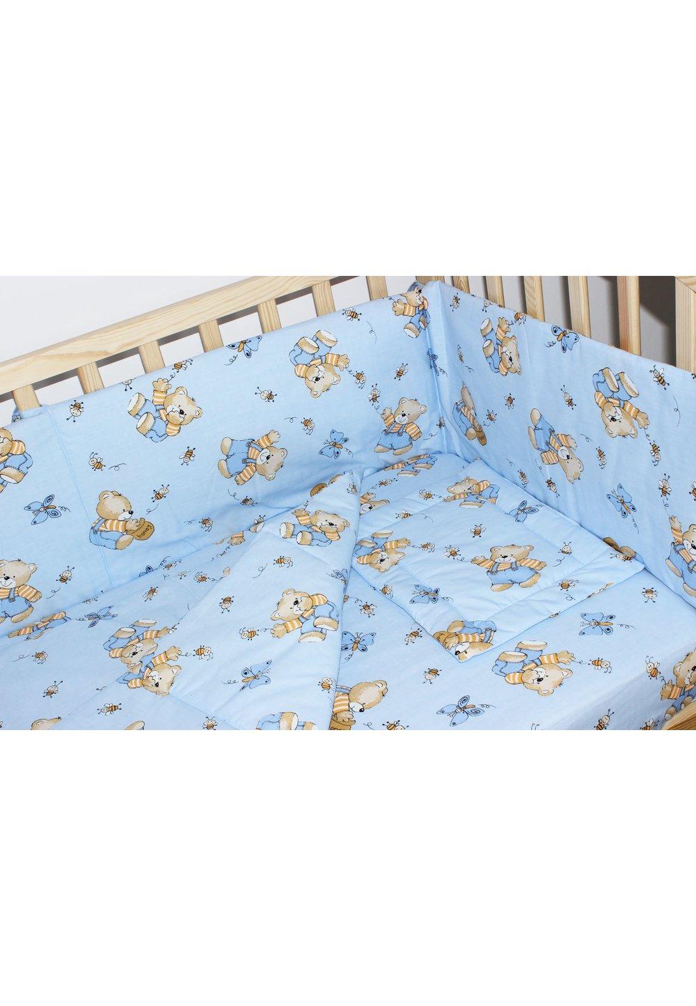 Lenjerie ursulet cu albinute albastre,5 piese 120x60 cm imagine
