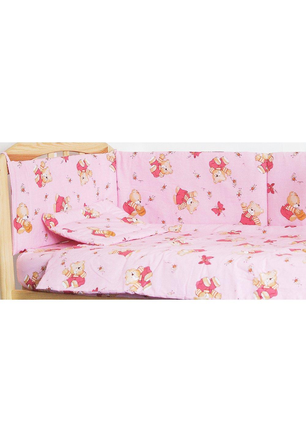 Lenjerie ursulet cu albinute roz,5 piese 120x60 cm imagine