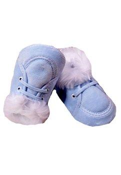 Papucei bebe, cu siret, albastri ,