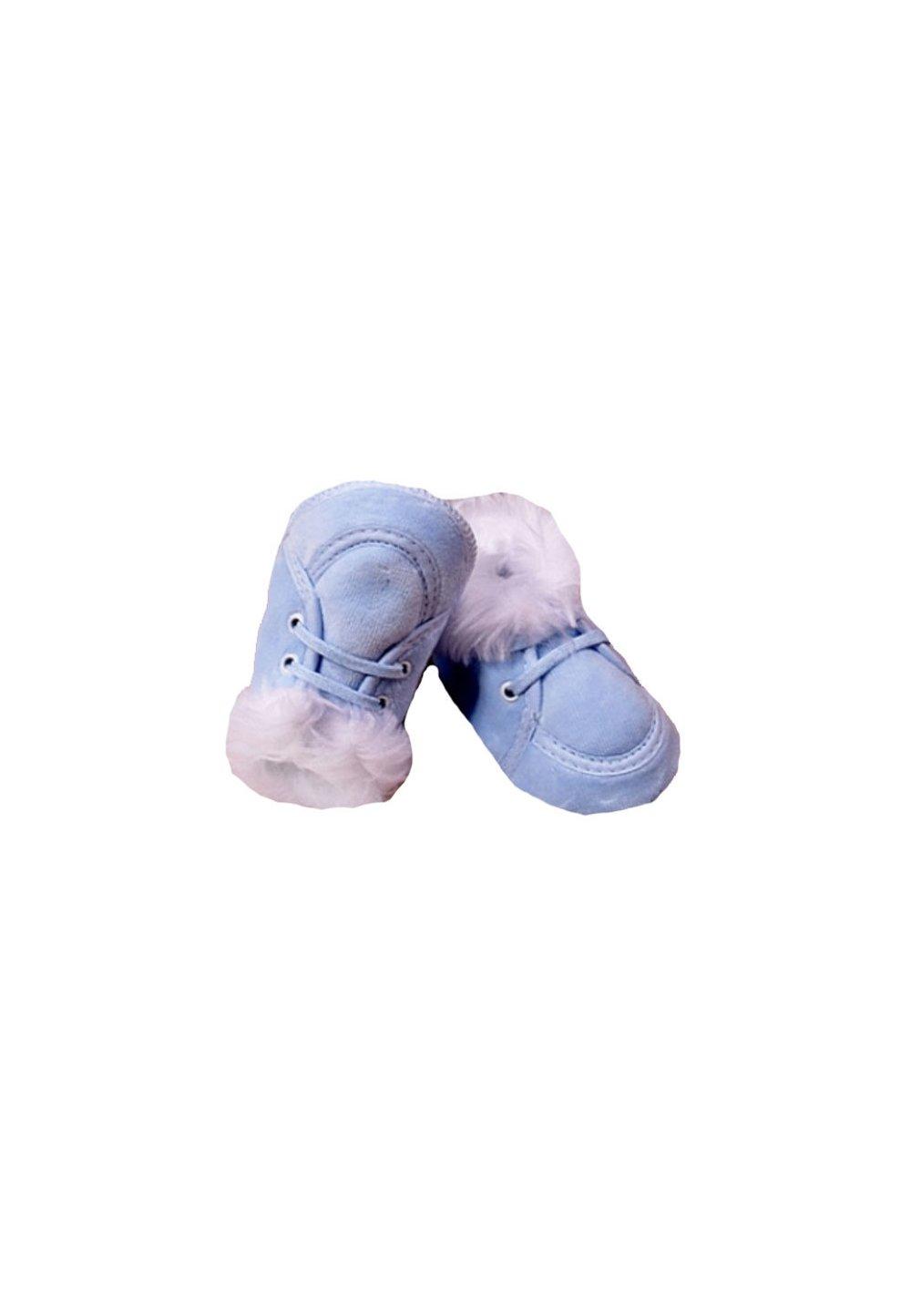 Papucei bebe, cu siret, albastri , imagine
