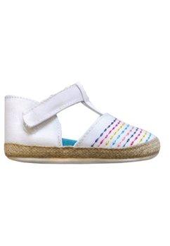 Papucei bebe, albi cu scai si linii colorate