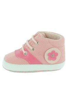 Papucei bebe, roz cu siret si floricica