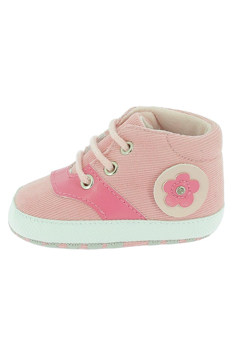 Papucei bebe, roz cu siret si floricica imagine