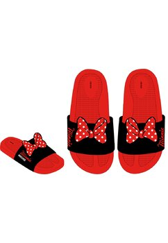 Papuci cu fundita, rosii cu negru