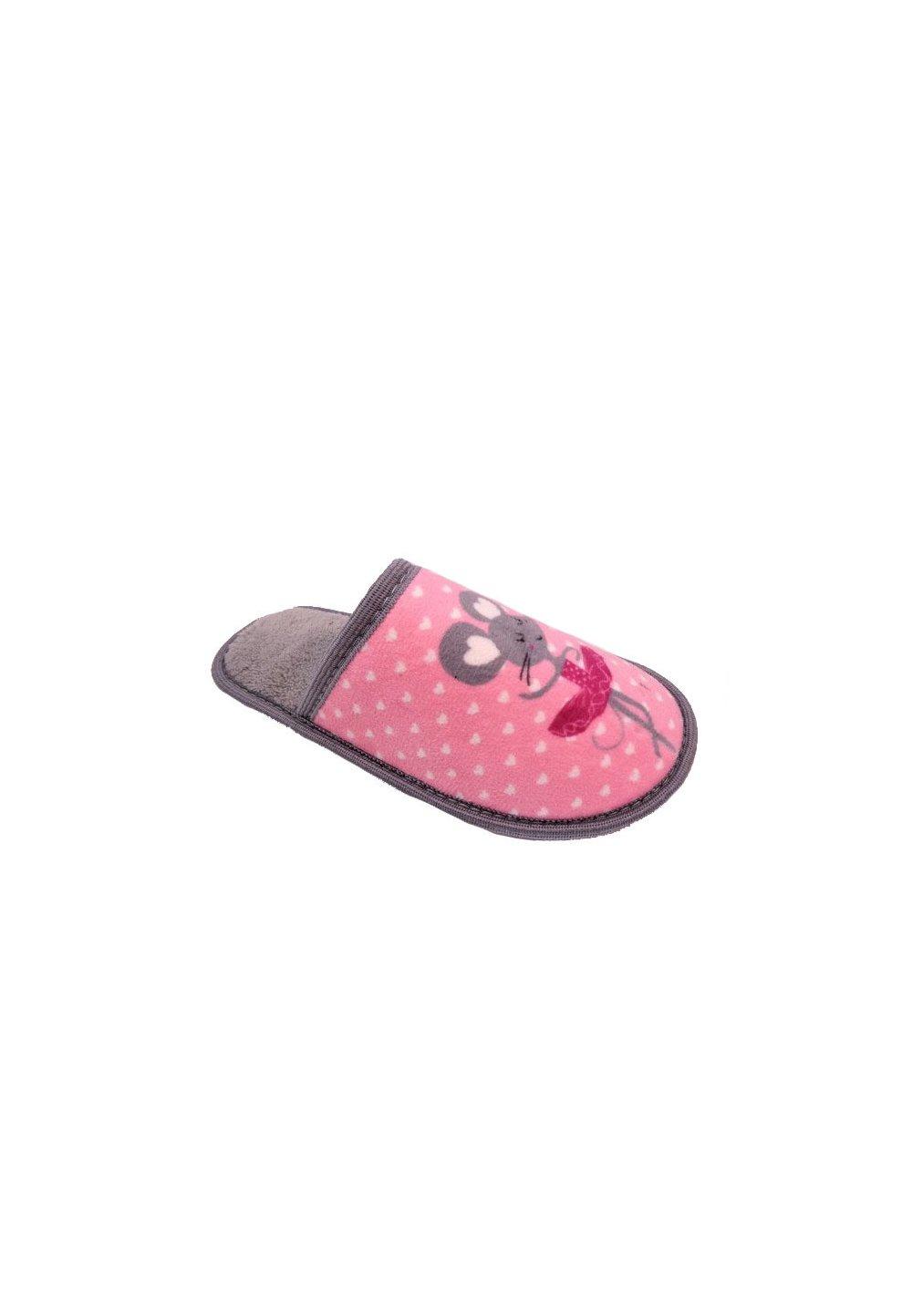 Papuci de casa, Soricel, gri cu roz imagine