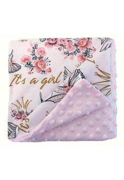Paturica 2 fete, minky roz deschis, It is a girl