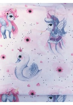 Paturica 2 fete, minky roz deschis, Unicorn roz