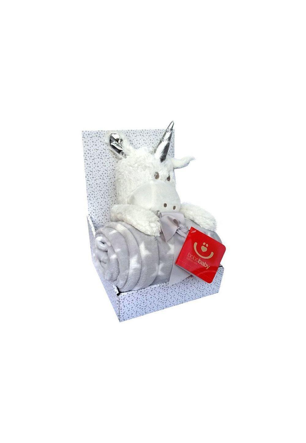 Paturica cu jucarie, unicorn alb de plus, 75x100 cm imagine