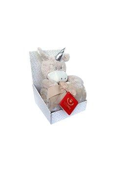 Paturica cu jucarie, unicorn crem de plus, 75x100 cm