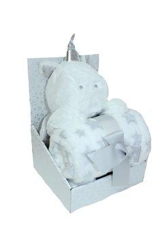Paturica, jucarie plus, unicorn alb, 75x100cm