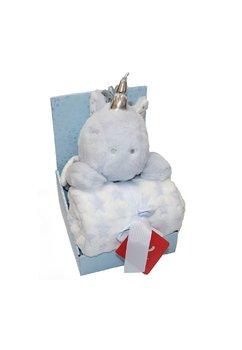 Paturica, jucarie plus, unicorn albastru, 75x100cm