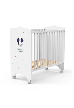 Patut bebe, lemn, Mickey Mouse, alb, 120x60cm