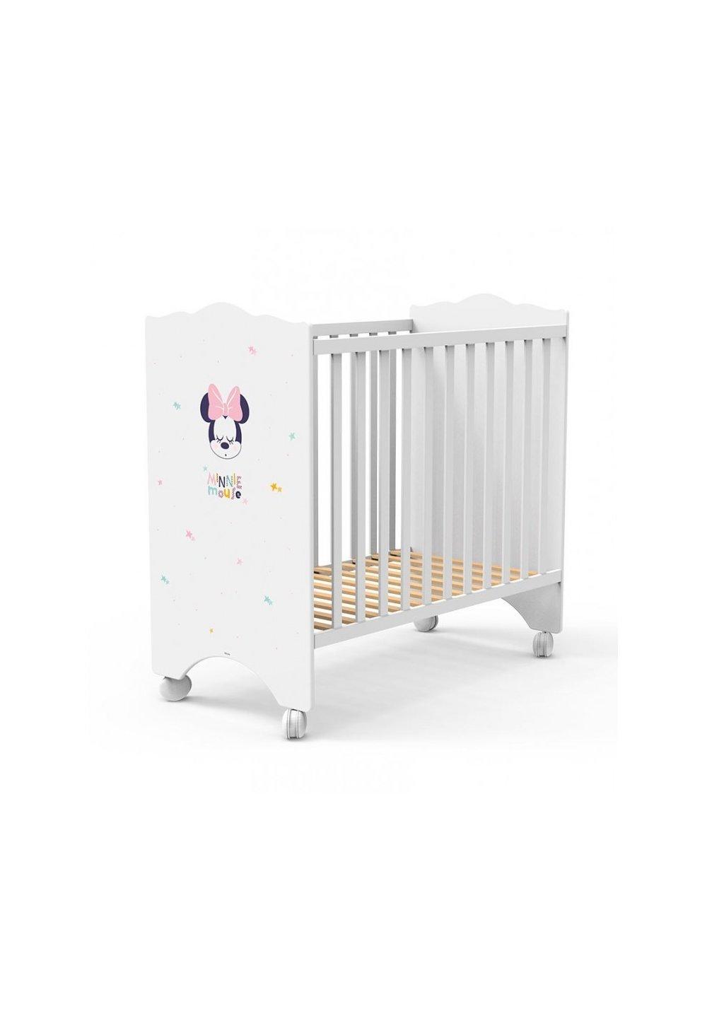 Patut bebe, lemn, Minnie Mouse, alb, 120x60cm imagine