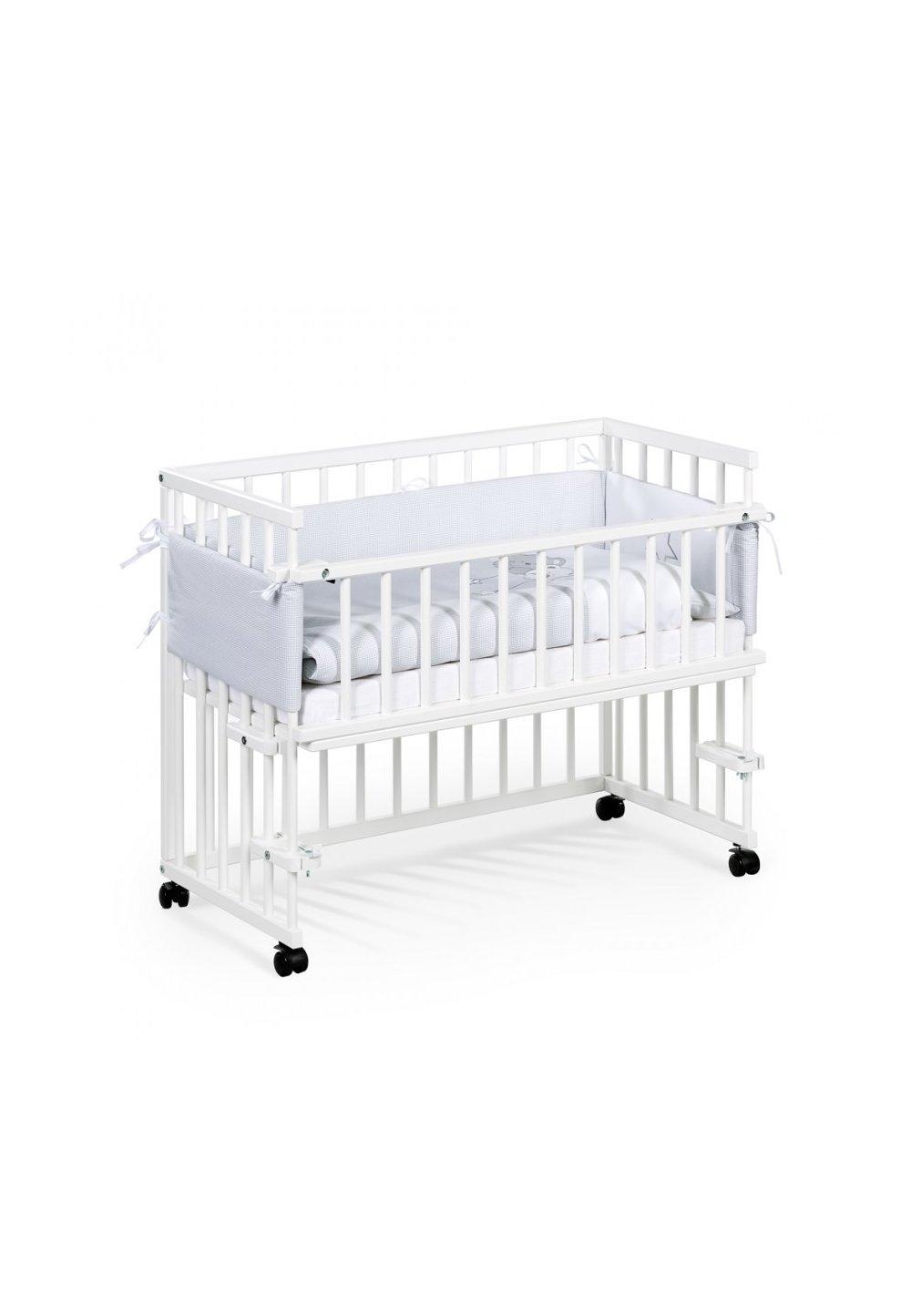 Patut bebe, lemn, Piccolo, alb , 95x45 cm + Saltea patut, Picolo,90x45 cm imagine