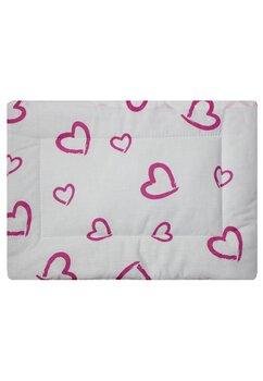 Perna slim, alba cu inimioare roz, 37x28cm